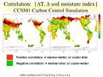 correlation d t d soil moisture index ccsm1 carbon control simulation