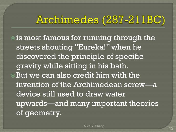 Archimedes (287-211BC)