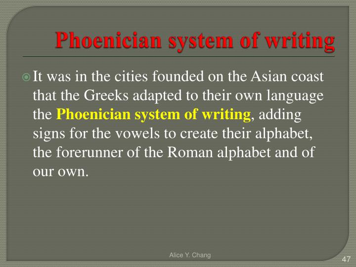 Phoenician system of writing