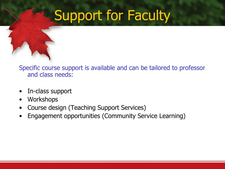 Support for Faculty