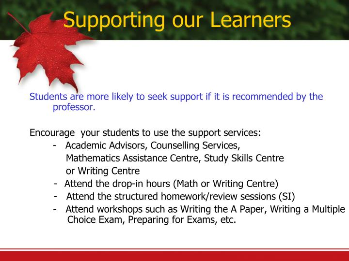 Supporting our Learners