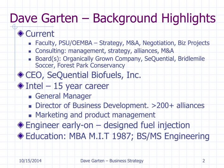 Dave Garten – Background Highlights