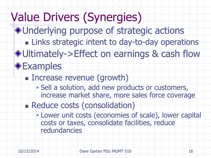 Value Drivers (Synergies)