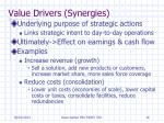 value drivers synergies