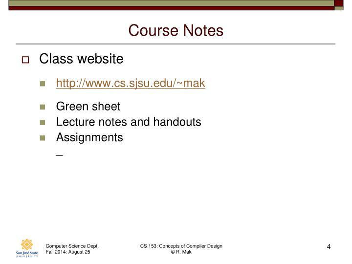 Course Notes