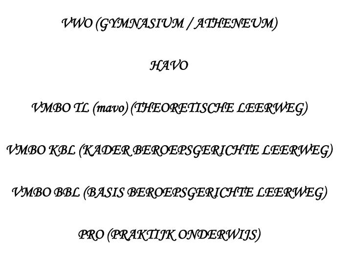 VWO (GYMNASIUM / ATHENEUM)