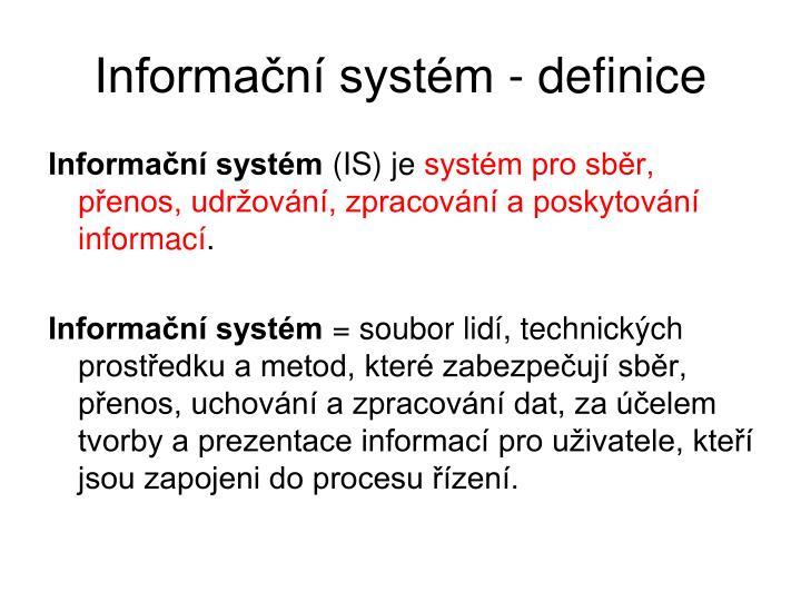 Informační systém - definice