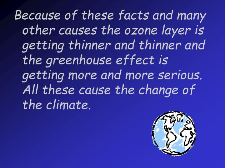 Because of these facts and many other causes the ozone layer is getting thinner and thinner and the greenhouse effect is getting more and more serious. All these cause the change of the climate.