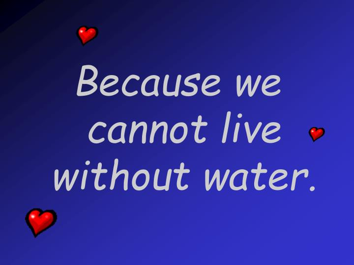Because we cannot live without water.