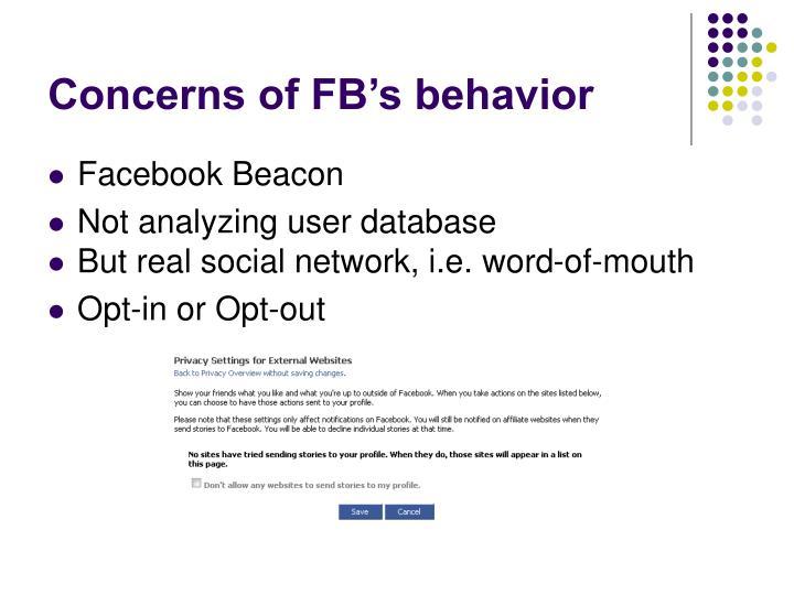 Concerns of FB's behavior