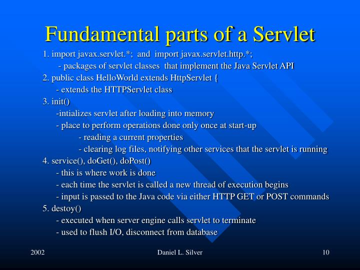 Fundamental parts of a Servlet