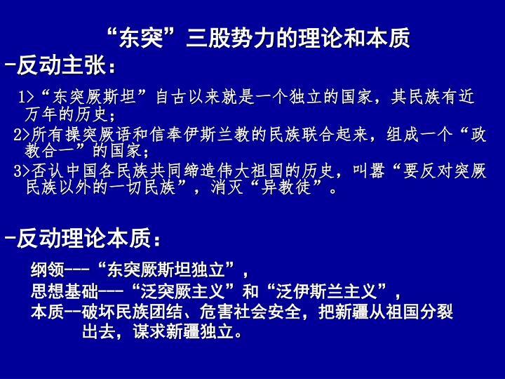 """""""东突""""三股势力的理论和本质"""
