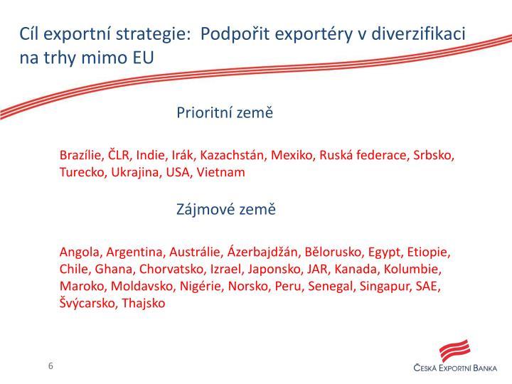 Cíl exportní strategie:  Podpořit exportéry v diverzifikaci na trhy mimo EU