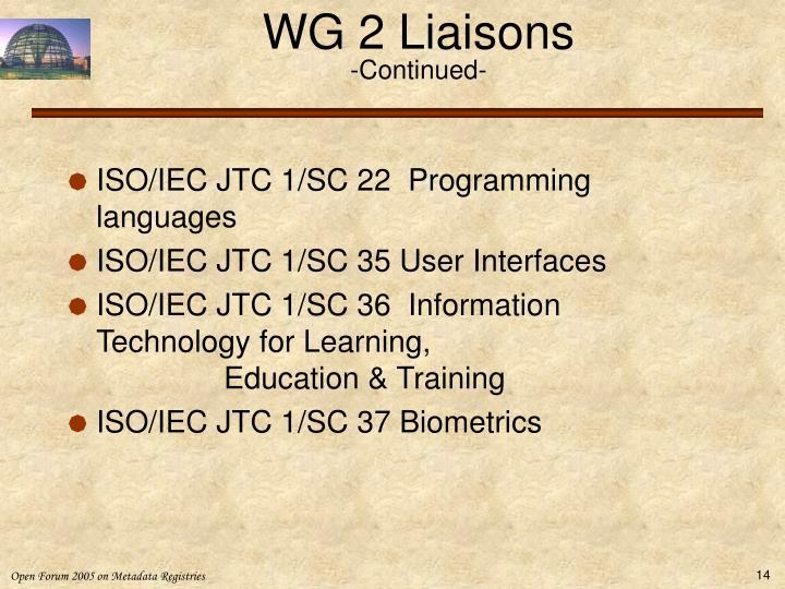 WG 2 Liaisons