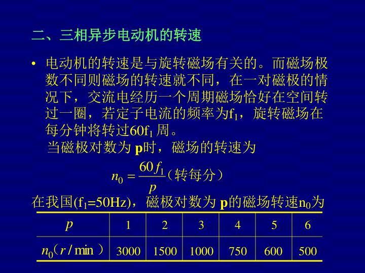 电动机的转速是与旋转磁场有关的。而磁场极数不同则磁场的转速就不同,在一对磁极的情况下,交流电经历一个周期磁场恰好在空间转过一圈,若定子电流的频率为