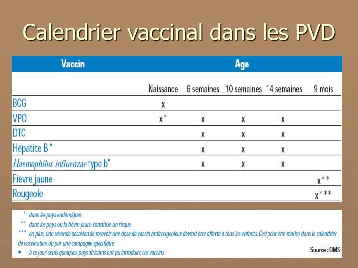 Calendrier vaccinal dans les PVD