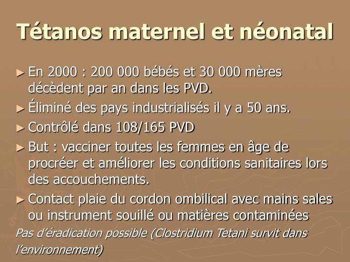 Tétanos maternel et néonatal