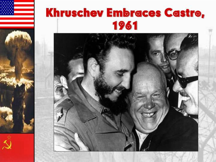 Khruschev Embraces Castro,
