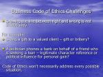 business code of ethics challenges