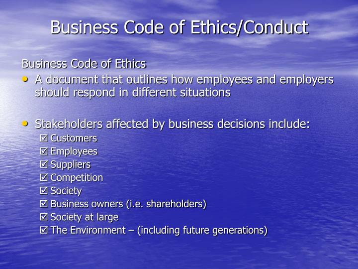 Business Code of Ethics/Conduct