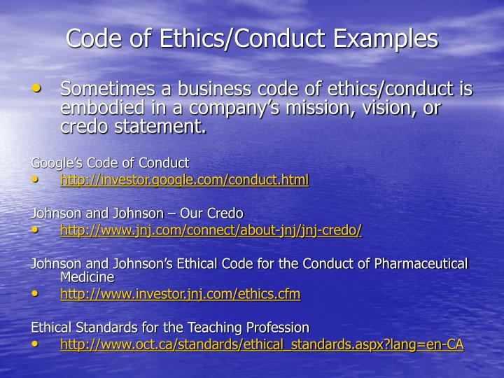 Code of Ethics/Conduct Examples