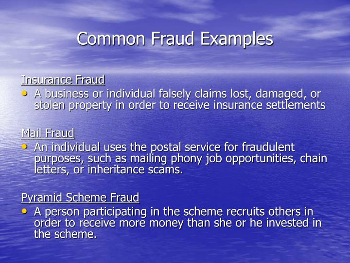 Common Fraud Examples