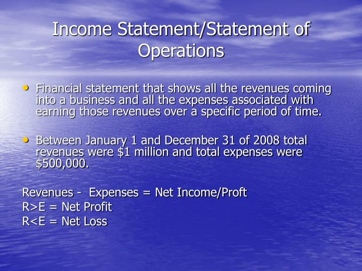Income Statement/Statement of Operations