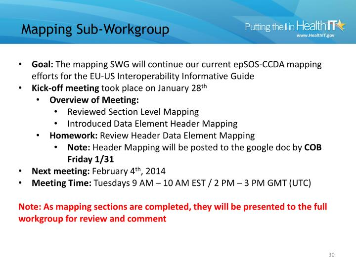 Mapping Sub-Workgroup