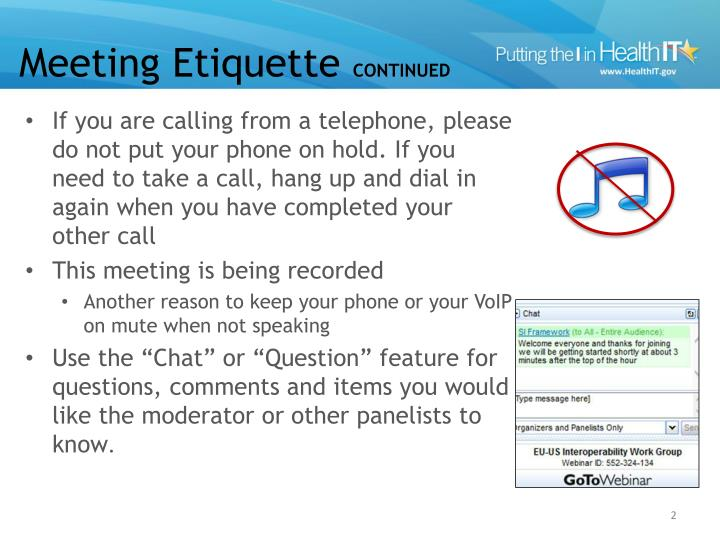 Meeting etiquette continued