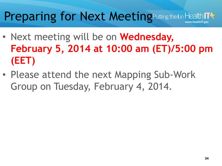 Preparing for Next Meeting