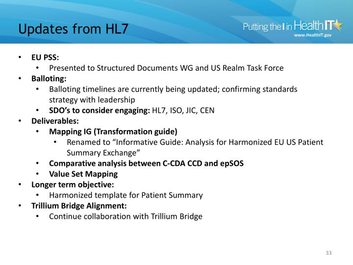 Updates from HL7
