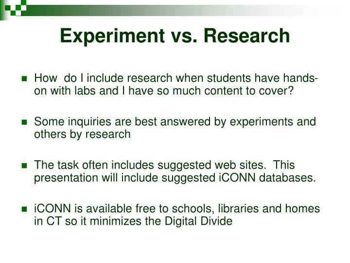 Experiment vs. Research