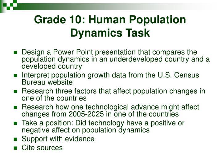 Grade 10: Human Population Dynamics Task