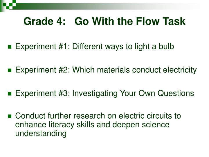 Grade 4:   Go With the Flow Task