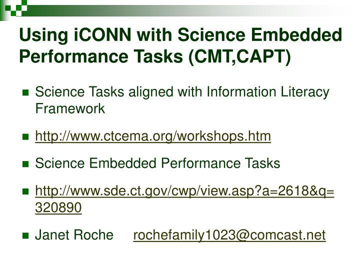 Using iCONN with Science Embedded Performance Tasks (CMT,CAPT)