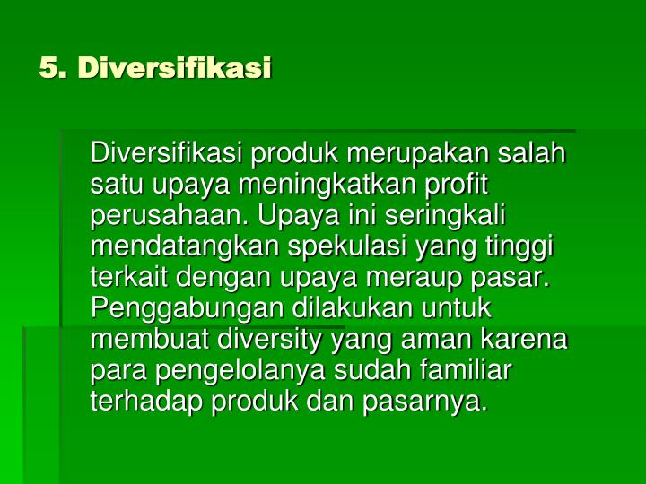 5. Diversifikasi