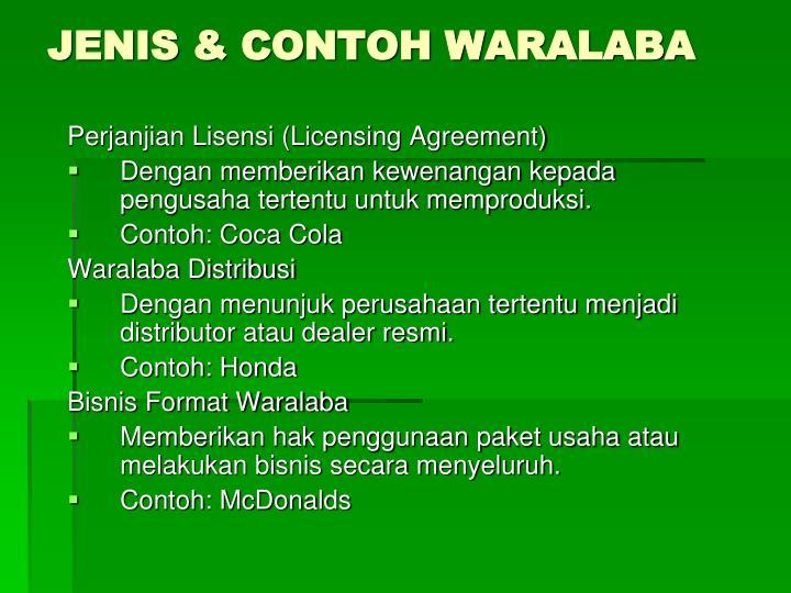 JENIS & CONTOH WARALABA