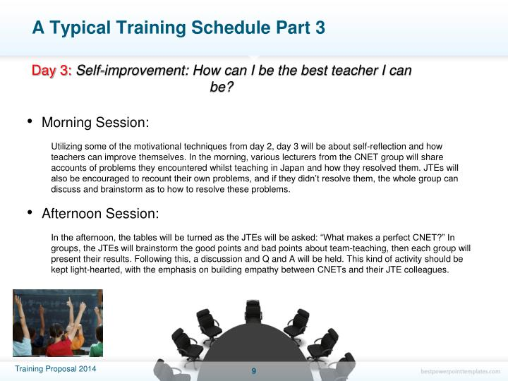 A Typical Training Schedule Part 3
