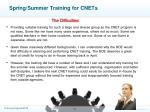 spring summer training for cnets