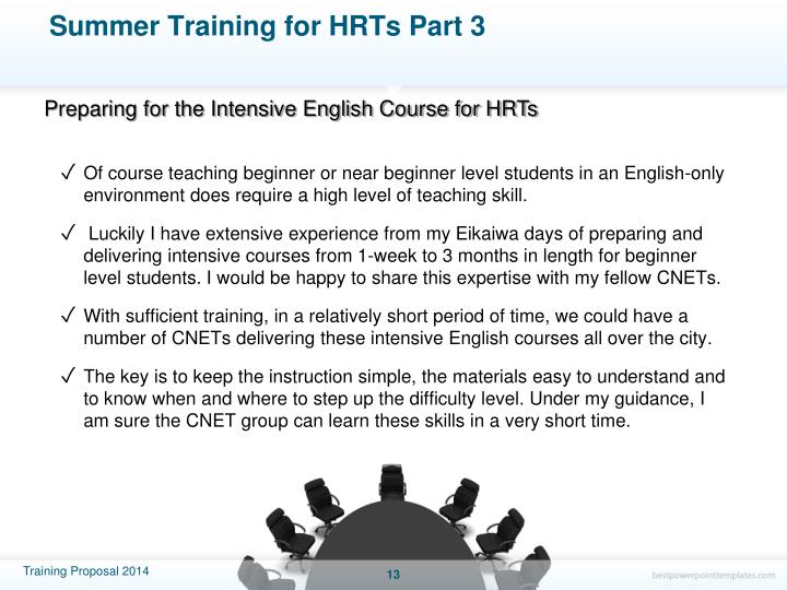 Summer Training for HRTs Part 3