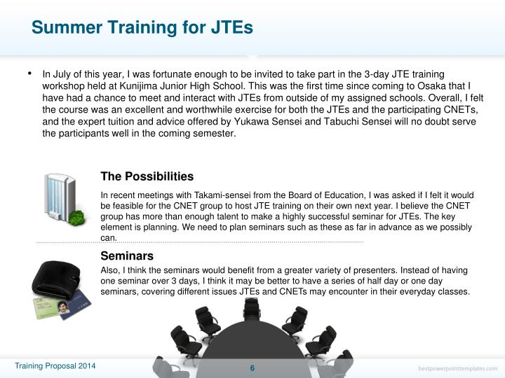 Summer Training for JTEs