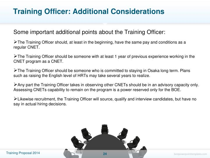 Training Officer: Additional Considerations
