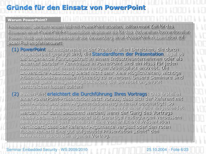 Warum PowerPoint?