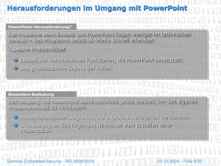 PowerPoint-Herausforderung?