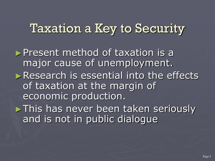 Taxation a key to security