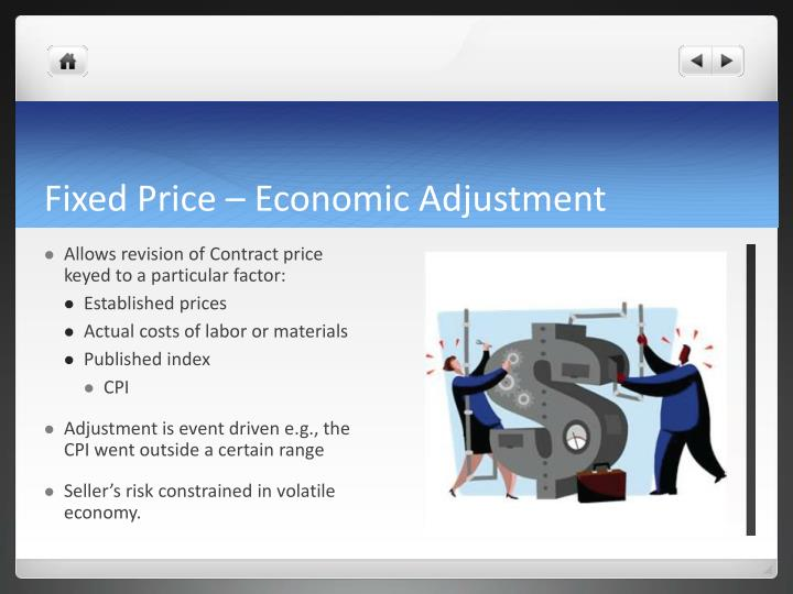 Fixed Price – Economic Adjustment