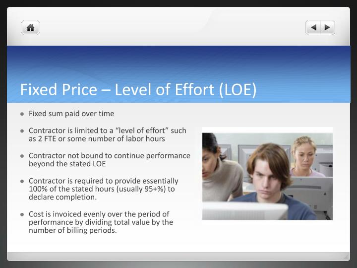 Fixed Price – Level of Effort (LOE)