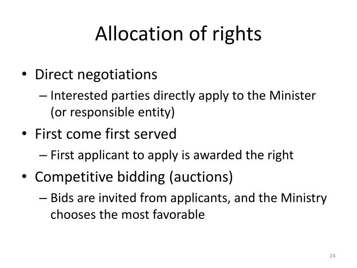 Allocation of rights