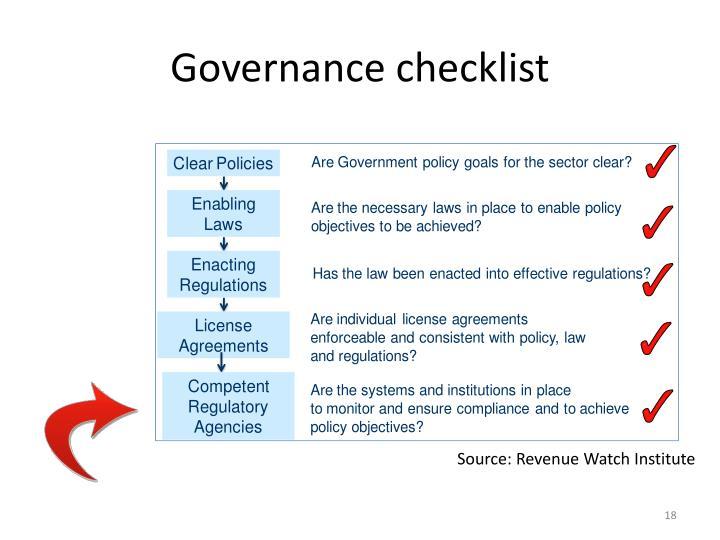 Governance checklist