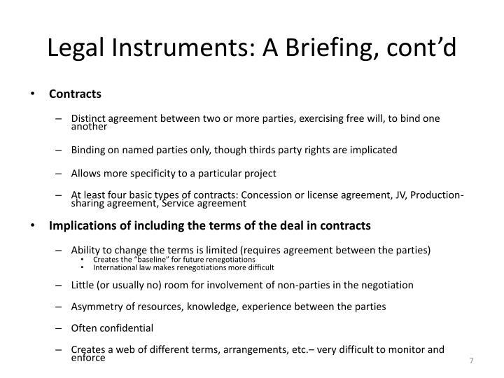 Legal Instruments: A